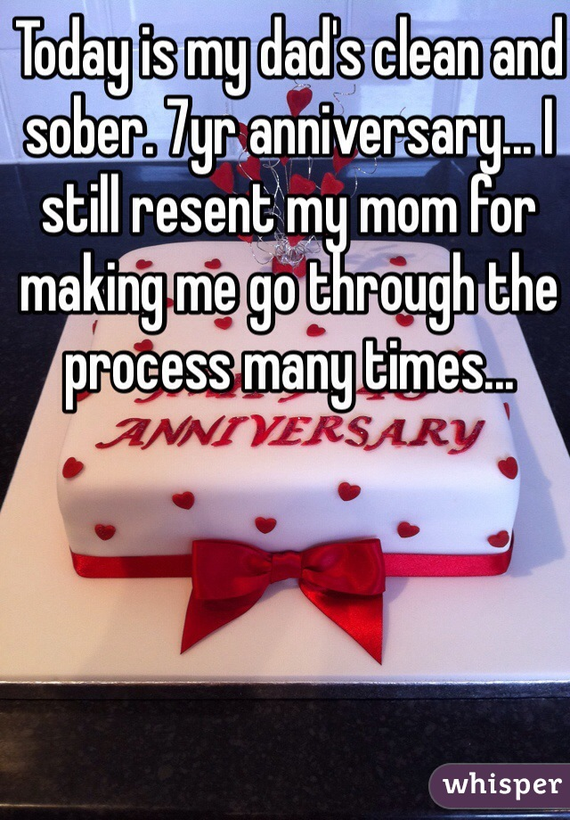 Today is my dad's clean and sober. 7yr anniversary... I still resent my mom for making me go through the process many times...