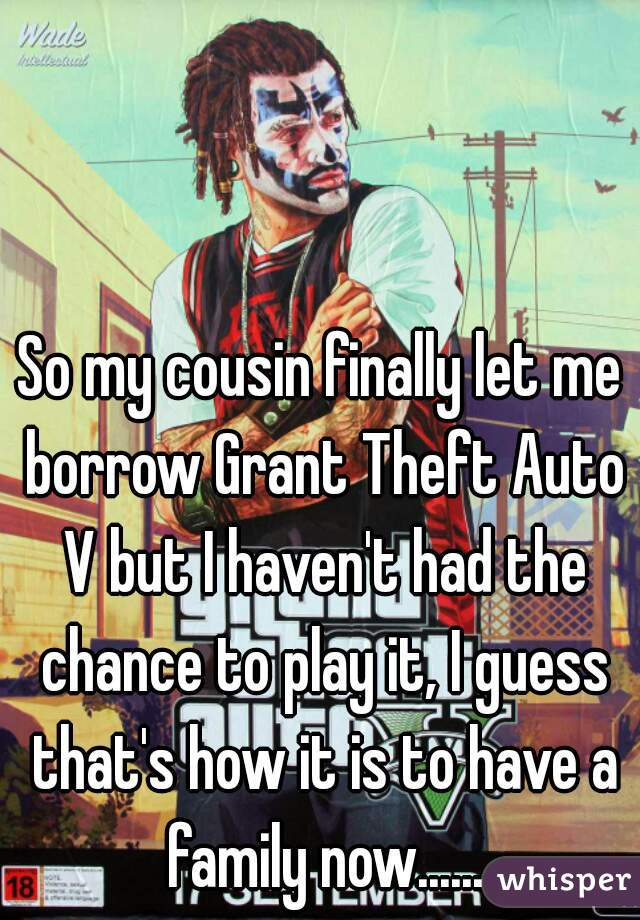So my cousin finally let me borrow Grant Theft Auto V but I haven't had the chance to play it, I guess that's how it is to have a family now......