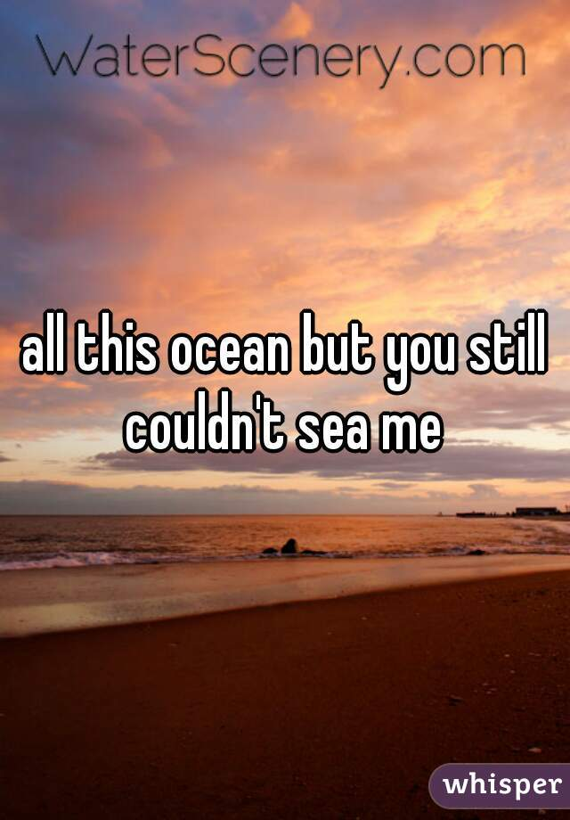 all this ocean but you still couldn't sea me