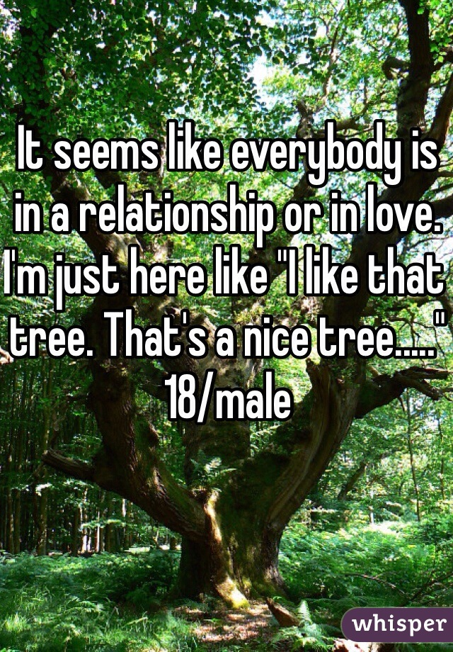 """It seems like everybody is in a relationship or in love. I'm just here like """"I like that tree. That's a nice tree....."""" 18/male"""