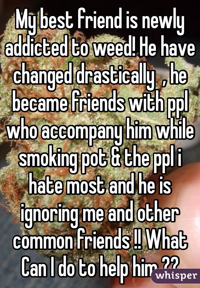 My best friend is newly addicted to weed! He have changed drastically  , he became friends with ppl who accompany him while smoking pot & the ppl i hate most and he is ignoring me and other common friends !! What Can I do to help him ??