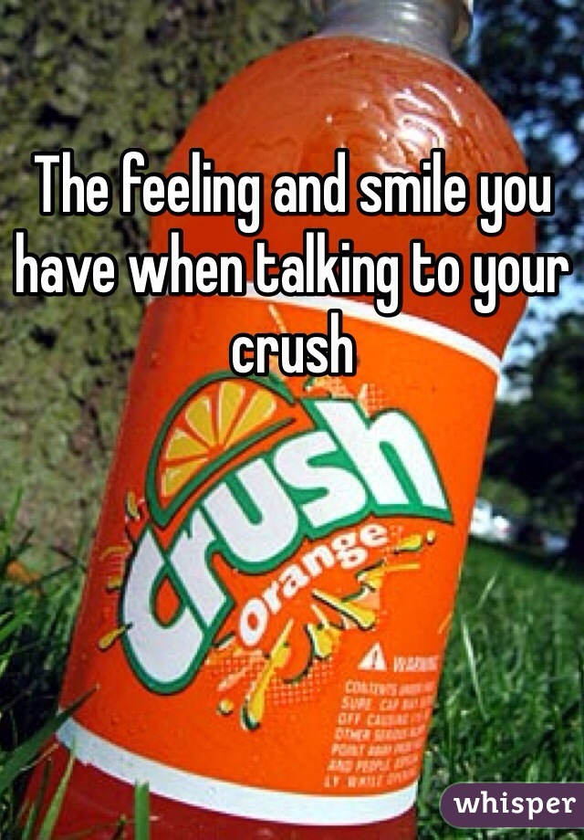The feeling and smile you have when talking to your crush