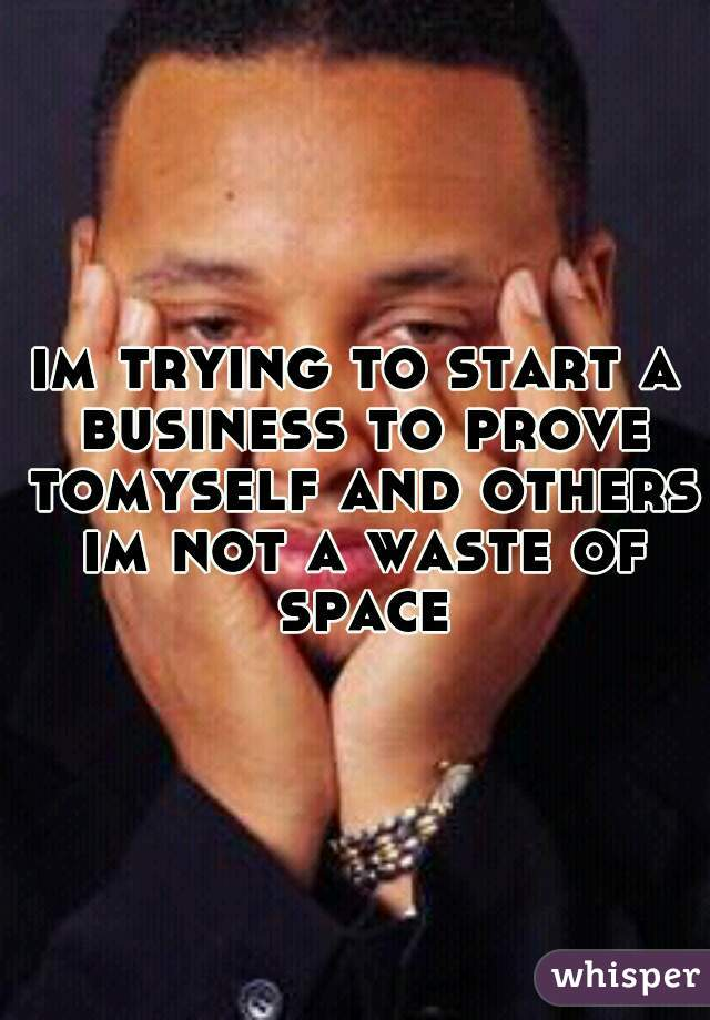 im trying to start a business to prove tomyself and others im not a waste of space