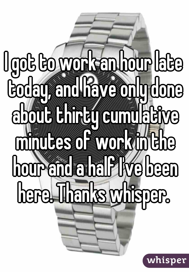 I got to work an hour late today, and have only done about thirty cumulative minutes of work in the hour and a half I've been here. Thanks whisper.