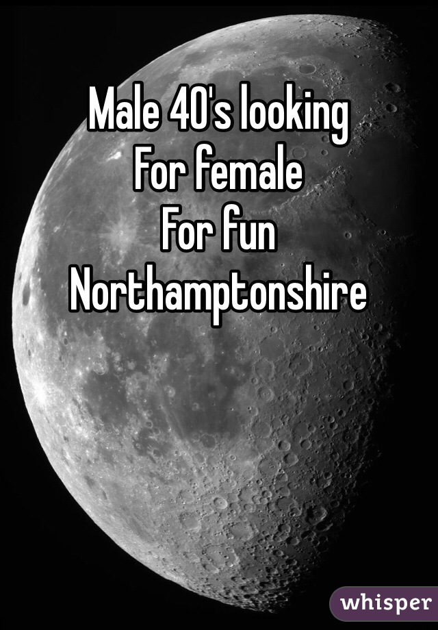 Male 40's looking  For female  For fun Northamptonshire