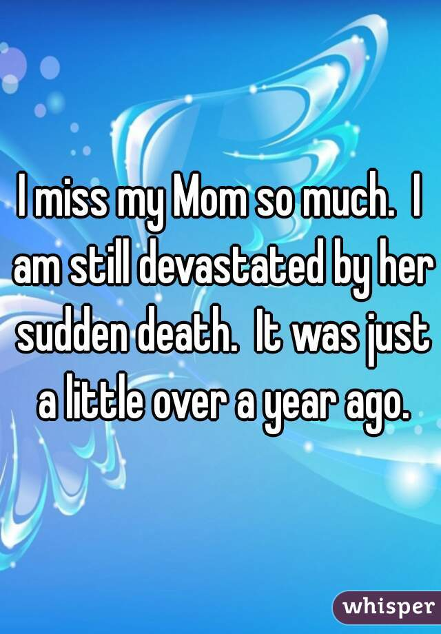 I miss my Mom so much.  I am still devastated by her sudden death.  It was just a little over a year ago.