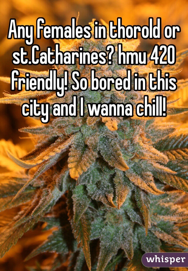 Any females in thorold or st.Catharines? hmu 420 friendly! So bored in this city and I wanna chill!