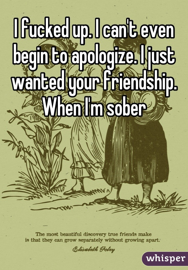 I fucked up. I can't even begin to apologize. I just wanted your friendship. When I'm sober