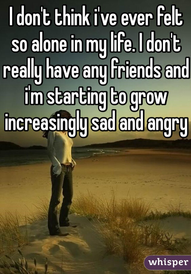 I don't think i've ever felt so alone in my life. I don't really have any friends and i'm starting to grow increasingly sad and angry