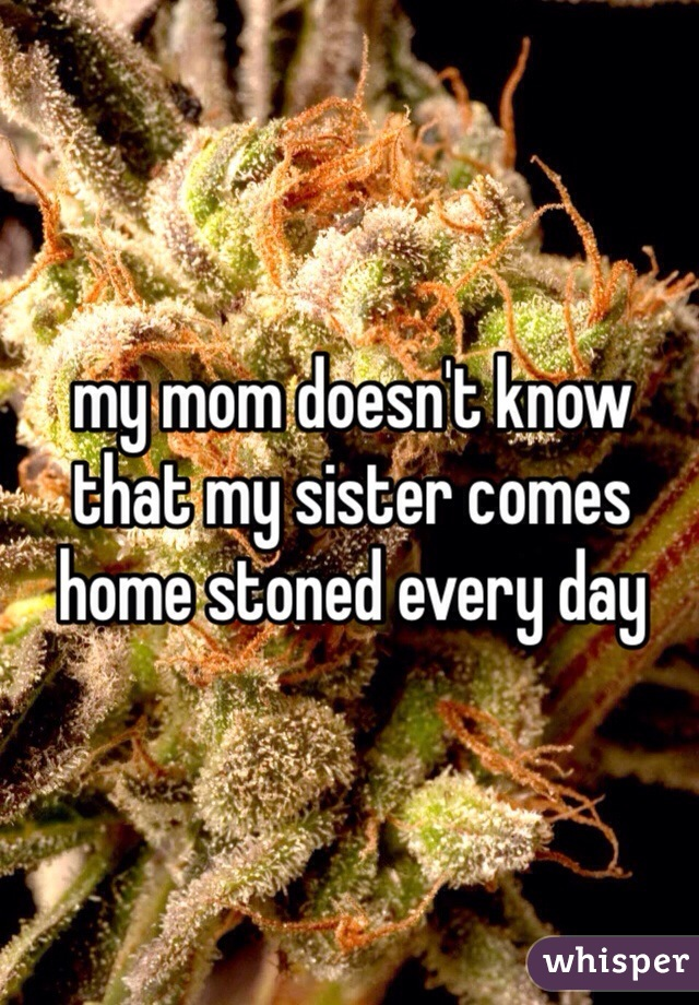 my mom doesn't know that my sister comes home stoned every day