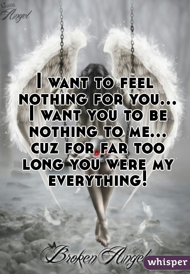 I want to feel nothing for you... I want you to be nothing to me... cuz for far too long you were my everything!