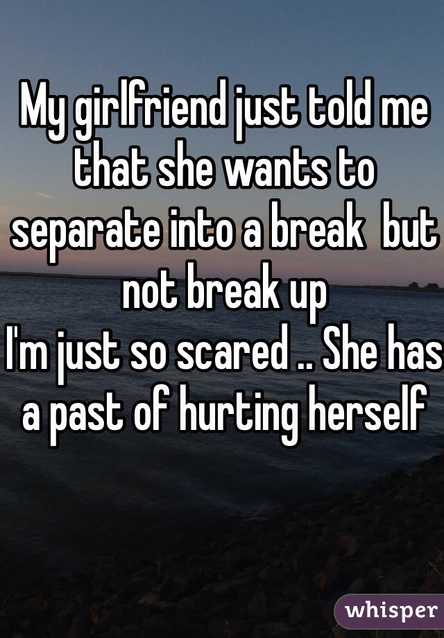 My girlfriend just told me that she wants to separate into a break  but not break up I'm just so scared .. She has a past of hurting herself