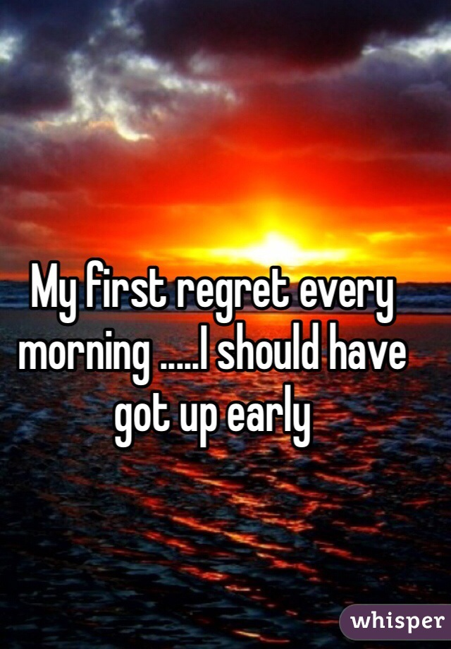 My first regret every morning .....I should have got up early