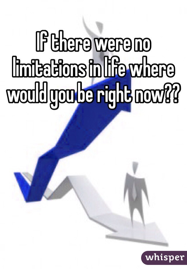 If there were no limitations in life where would you be right now??