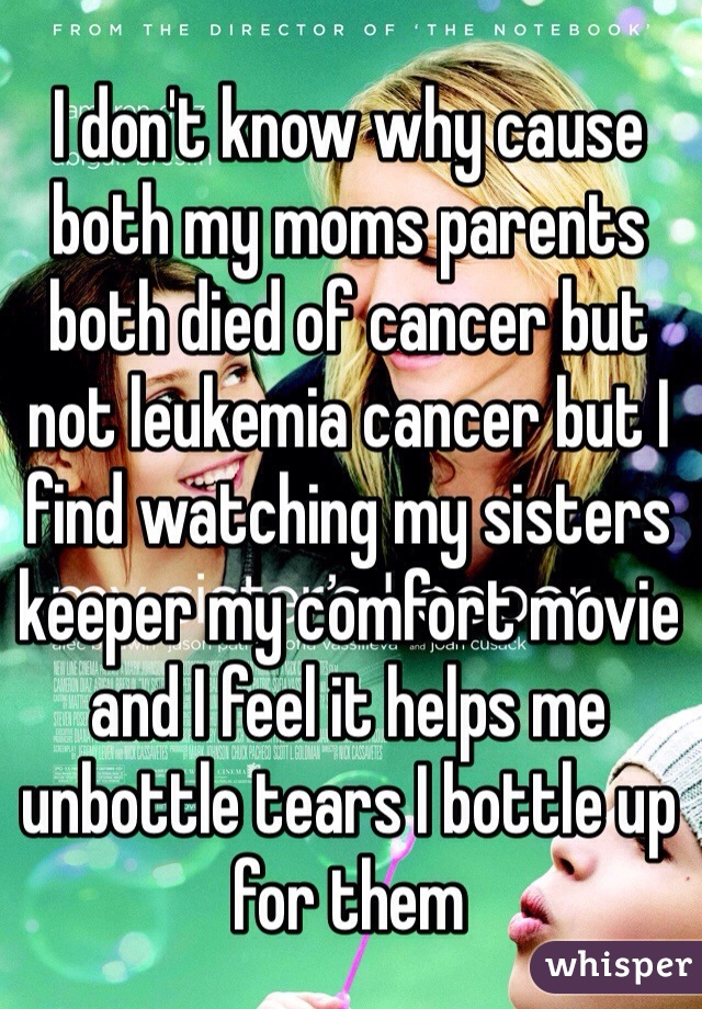 I don't know why cause both my moms parents both died of cancer but not leukemia cancer but I find watching my sisters keeper my comfort movie and I feel it helps me unbottle tears I bottle up for them