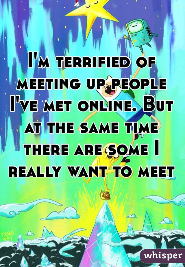 I'm terrified of meeting up people I've met online. But at the same time there are some I really want to meet