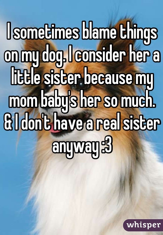 I sometimes blame things on my dog. I consider her a little sister because my mom baby's her so much.  & I don't have a real sister anyway :3