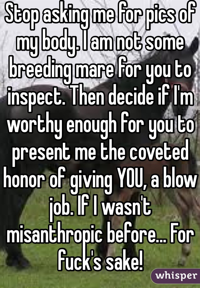 Stop asking me for pics of my body. I am not some breeding mare for you to inspect. Then decide if I'm worthy enough for you to present me the coveted honor of giving YOU, a blow job. If I wasn't misanthropic before... For fuck's sake!