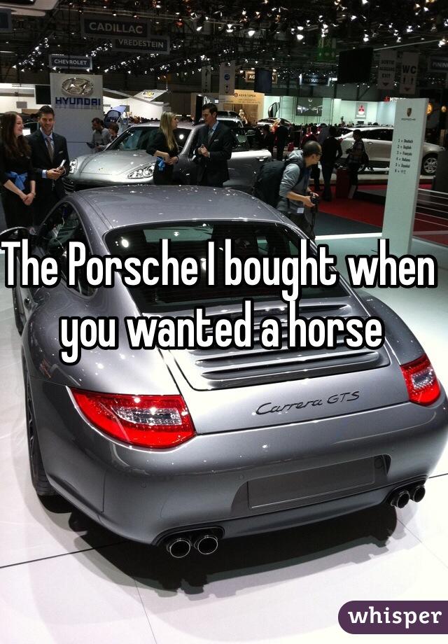 The Porsche I bought when you wanted a horse