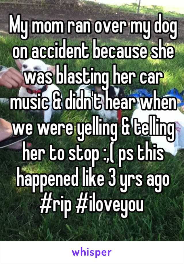 My mom ran over my dog on accident because she was blasting her car music & didn't hear when we were yelling & telling her to stop :,( ps this happened like 3 yrs ago #rip #iloveyou