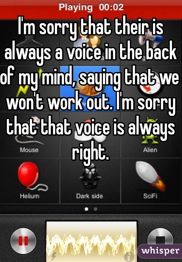 I'm sorry that their is always a voice in the back of my mind, saying that we won't work out. I'm sorry that that voice is always right.