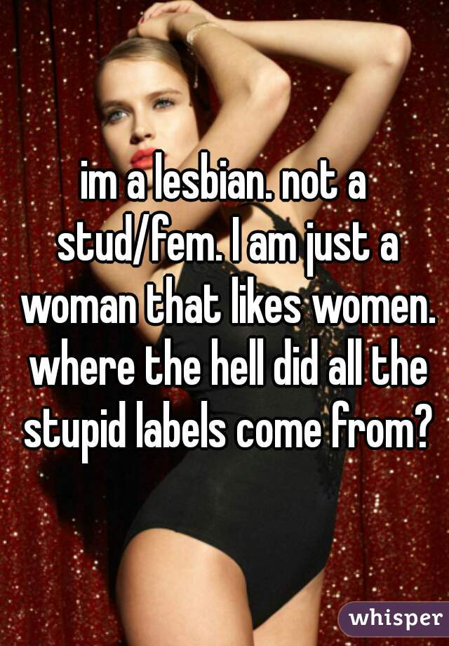 im a lesbian. not a stud/fem. I am just a woman that likes women. where the hell did all the stupid labels come from?