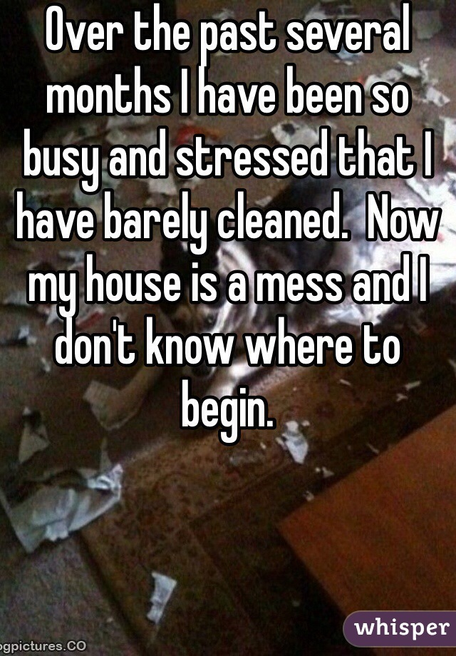 Over the past several months I have been so busy and stressed that I have barely cleaned.  Now my house is a mess and I don't know where to begin.