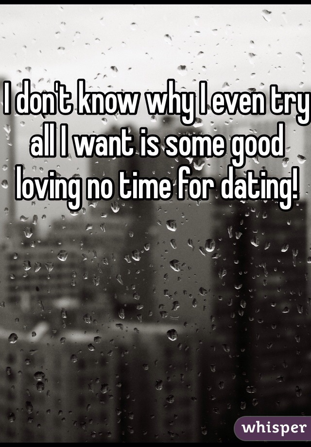 I don't know why I even try all I want is some good loving no time for dating!