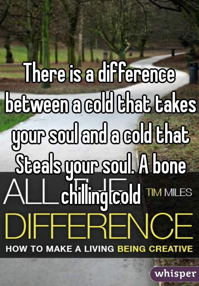 There is a difference between a cold that takes your soul and a cold that Steals your soul. A bone chilling cold