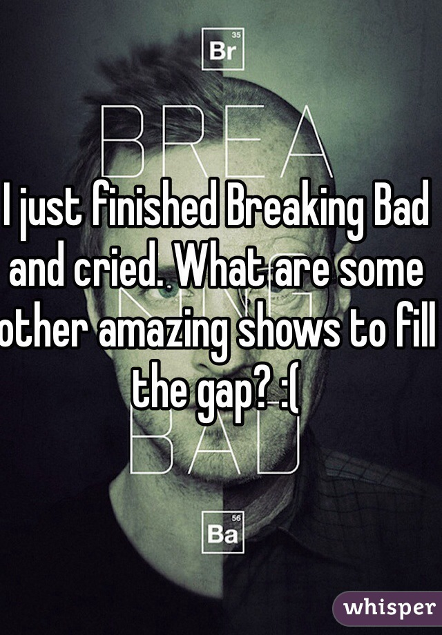 I just finished Breaking Bad and cried. What are some other amazing shows to fill the gap? :(