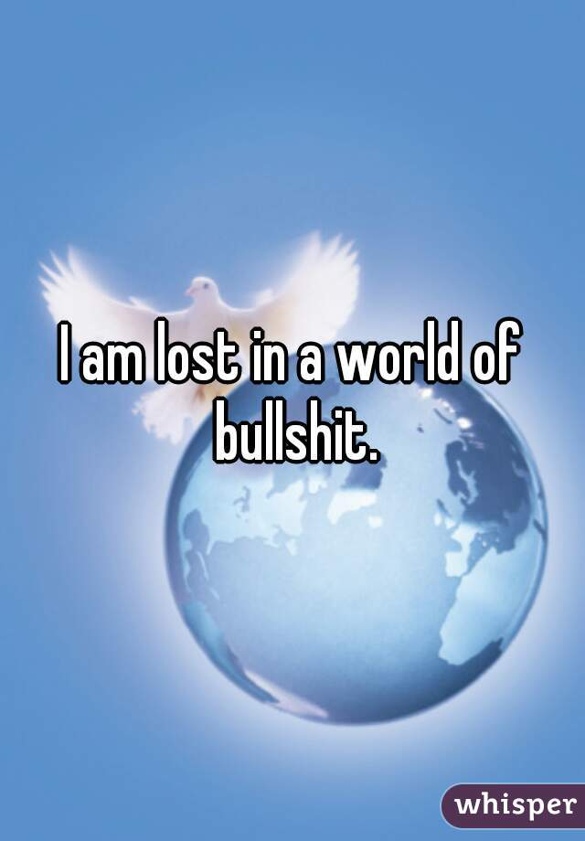 I am lost in a world of bullshit.
