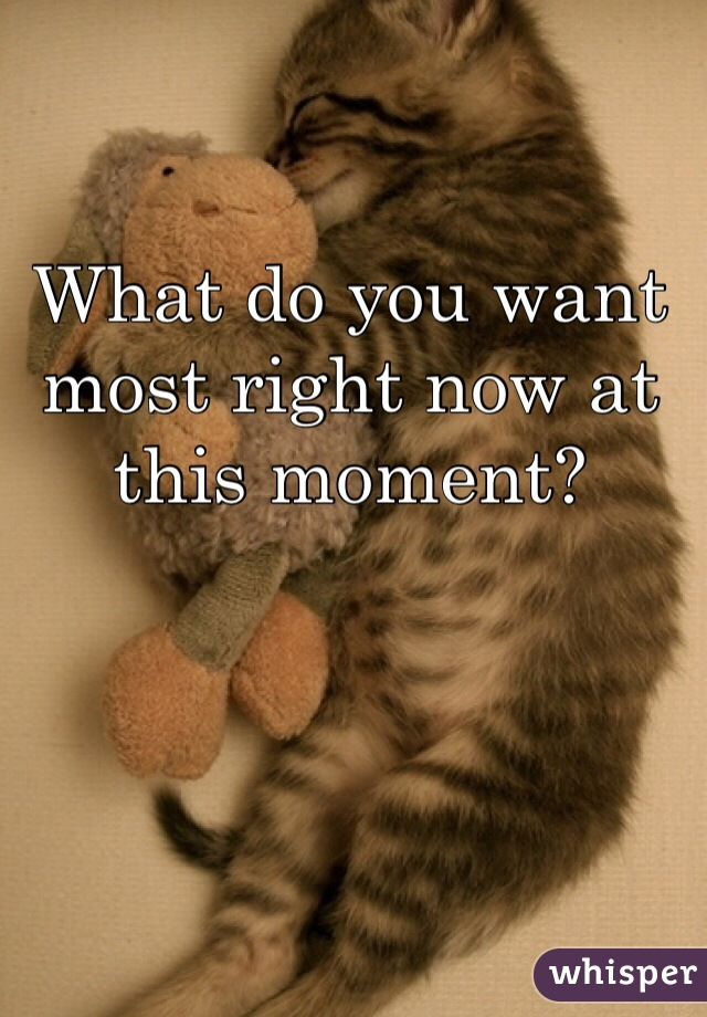 What do you want most right now at this moment?