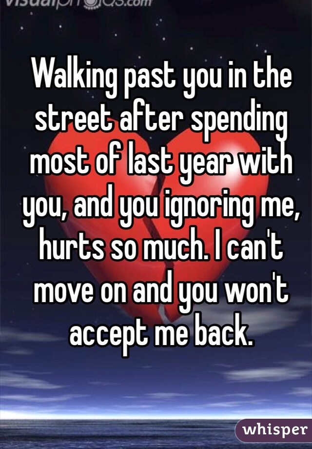 Walking past you in the street after spending most of last year with you, and you ignoring me, hurts so much. I can't move on and you won't accept me back.