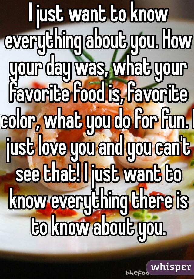 I just want to know everything about you. How your day was, what your favorite food is, favorite color, what you do for fun. I just love you and you can't see that! I just want to know everything there is to know about you.
