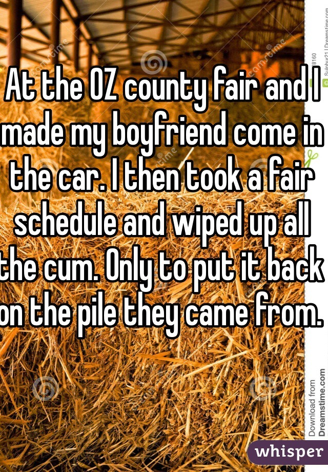 At the OZ county fair and I made my boyfriend come in the car. I then took a fair schedule and wiped up all the cum. Only to put it back on the pile they came from.