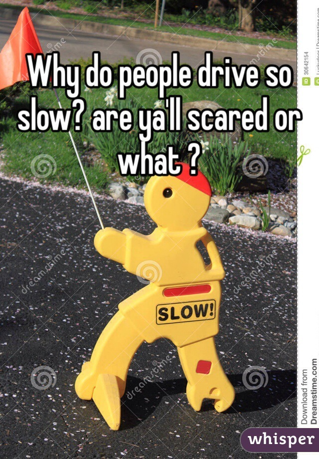 Why do people drive so slow? are ya'll scared or what ?