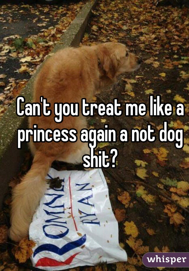Can't you treat me like a princess again a not dog shit?