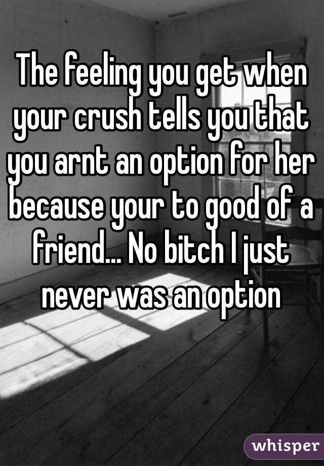 The feeling you get when your crush tells you that you arnt an option for her because your to good of a friend... No bitch I just never was an option