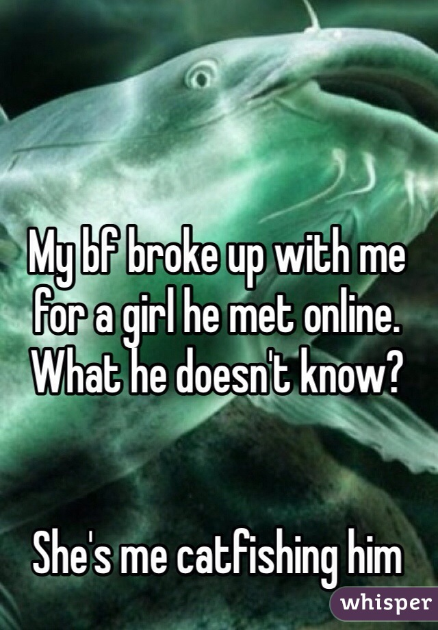 My bf broke up with me for a girl he met online. What he doesn't know?   She's me catfishing him