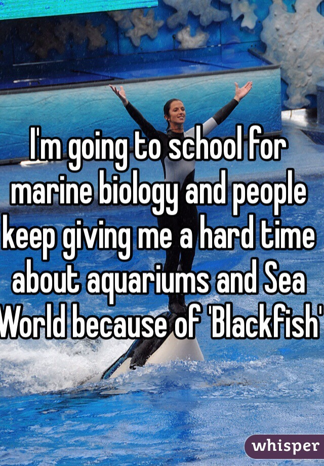I'm going to school for marine biology and people keep giving me a hard time about aquariums and Sea World because of 'Blackfish'