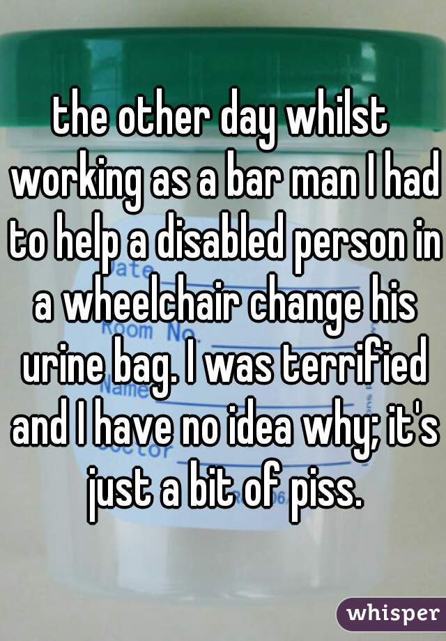 the other day whilst working as a bar man I had to help a disabled person in a wheelchair change his urine bag. I was terrified and I have no idea why; it's just a bit of piss.