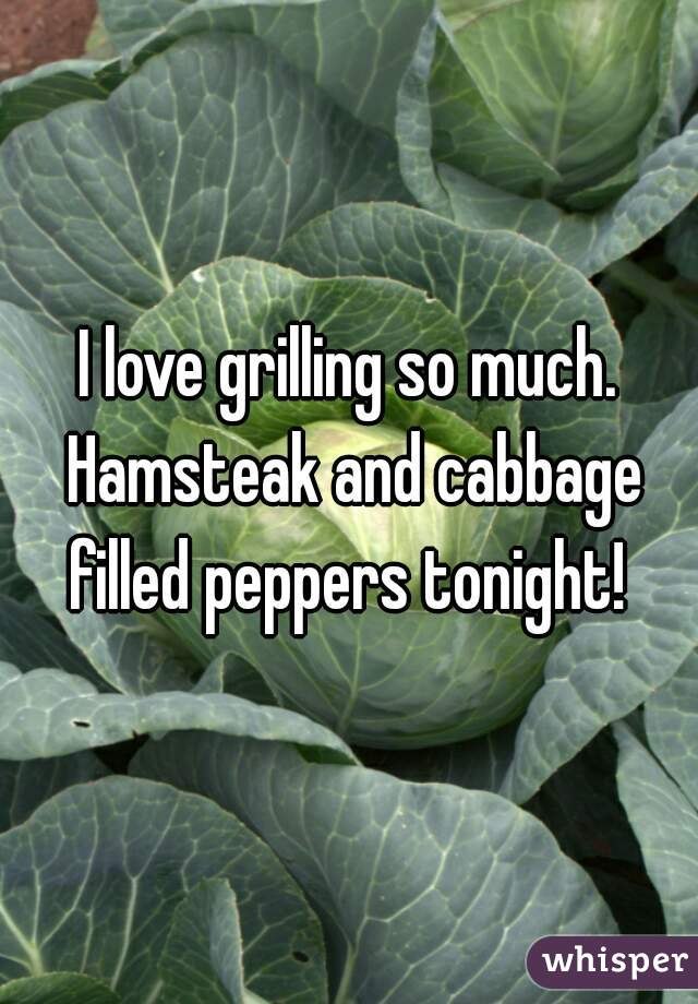 I love grilling so much. Hamsteak and cabbage filled peppers tonight!