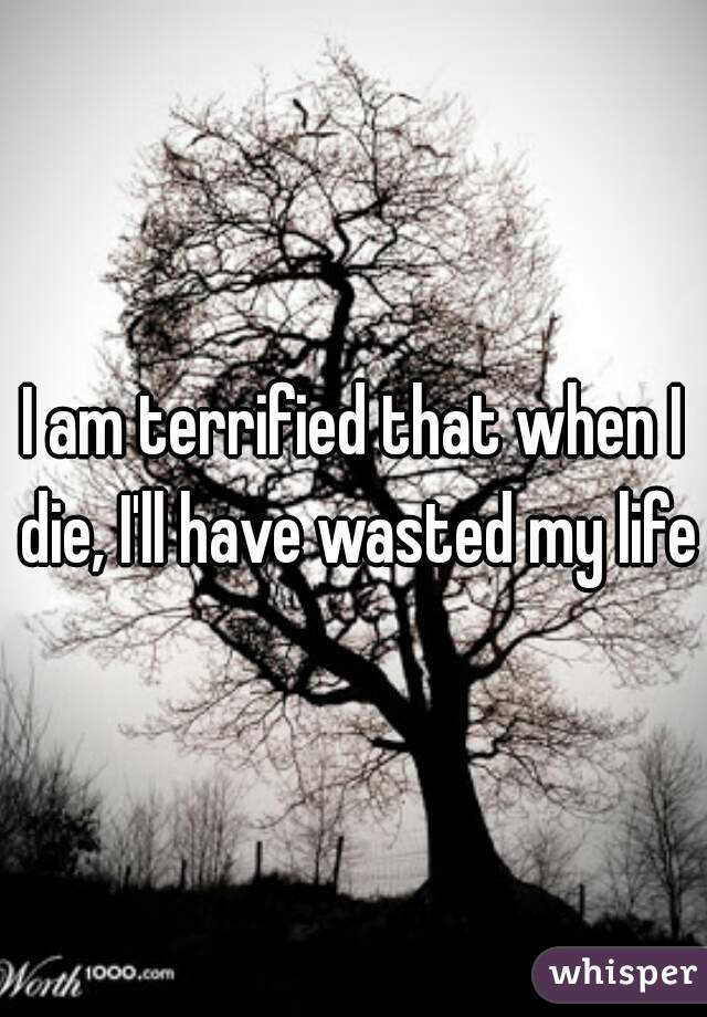 I am terrified that when I die, I'll have wasted my life