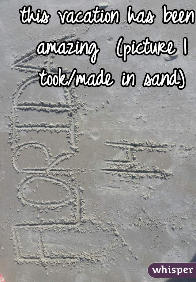 this vacation has been amazing  (picture I took/made in sand)