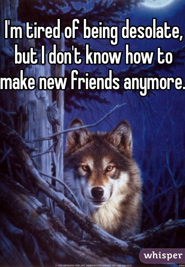 I'm tired of being desolate, but I don't know how to make new friends anymore.