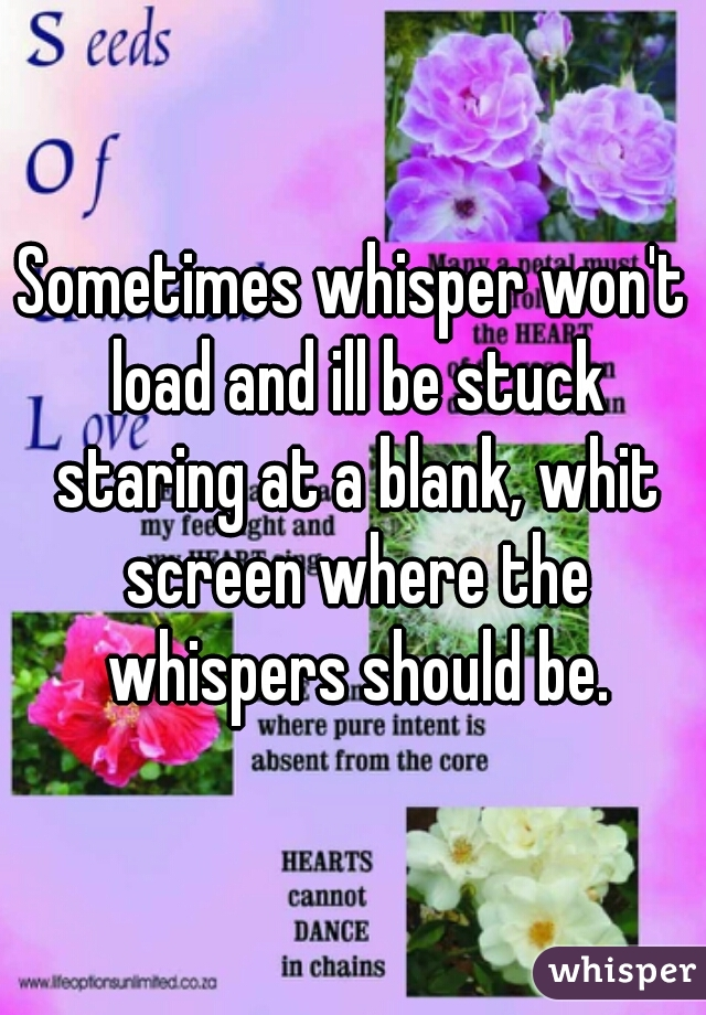 Sometimes whisper won't load and ill be stuck staring at a blank, whit screen where the whispers should be.
