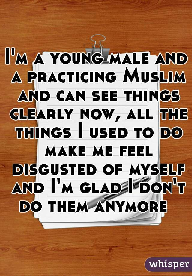 I'm a young male and a practicing Muslim and can see things clearly now, all the things I used to do make me feel disgusted of myself and I'm glad I don't do them anymore