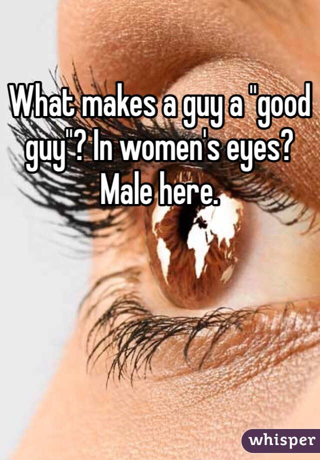 "What makes a guy a ""good guy""? In women's eyes? Male here."