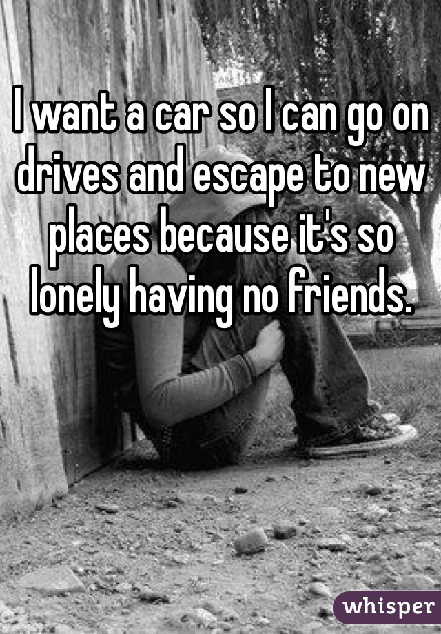 I want a car so I can go on drives and escape to new places because it's so lonely having no friends.