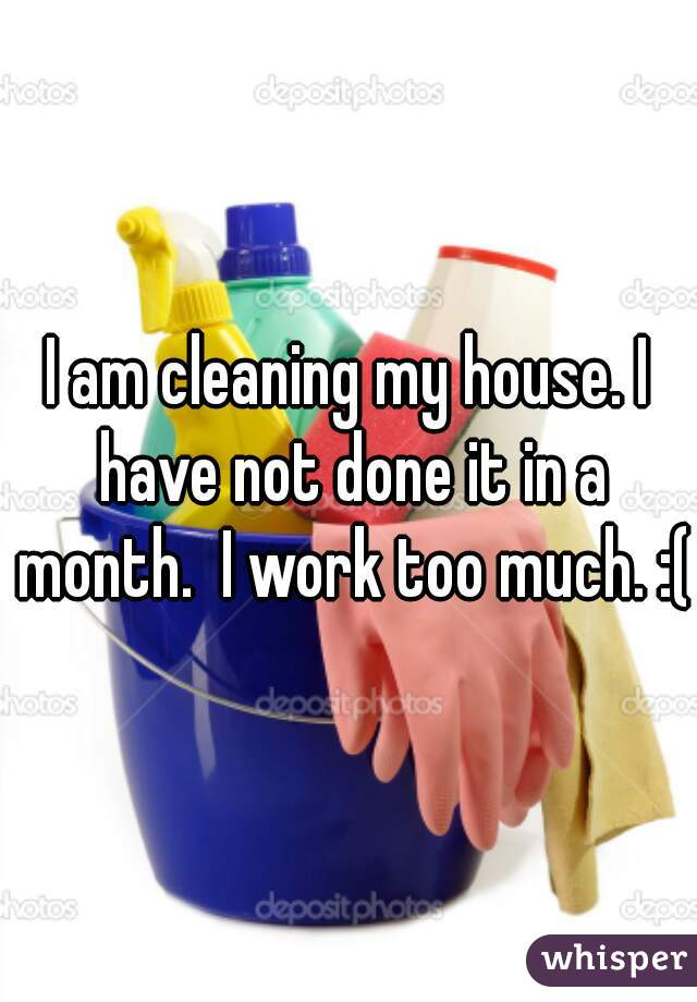 I am cleaning my house. I have not done it in a month.  I work too much. :(